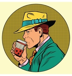 Retro man drinking coffee vector image
