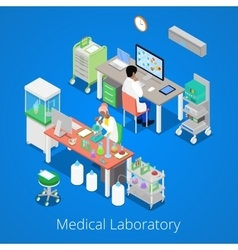 Isometric laboratory analysis with medical staff vector