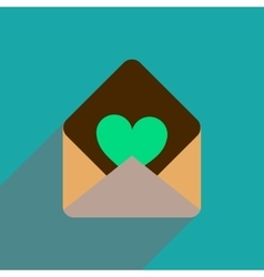 Flat icon with long shadow love letter vector
