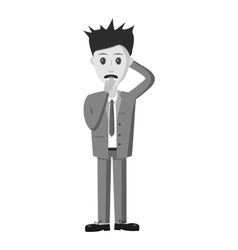 Scared businessman icon gray monochrome style vector