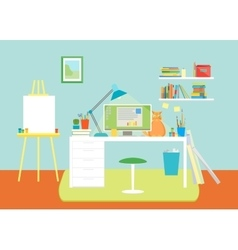 Cartoon interior working place with furniture vector