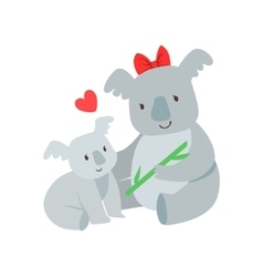 Koala mom with red bow animal parent and its baby vector
