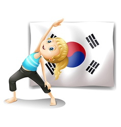 A girl exercising in front of the south korean vector