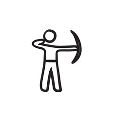 Archer training with bow sketch icon vector