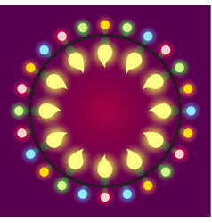 Light bulb colorful holiday or casino lights frame vector