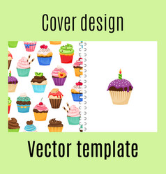 cover design with cupcakes pattern vector image
