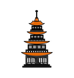 Drawing chinese building ancient temple tower vector