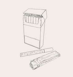 Cigarettes pocket sketch vector