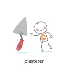 Plasterer with shovel tool vector