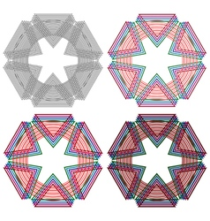 Four circular shapes with triangles vector