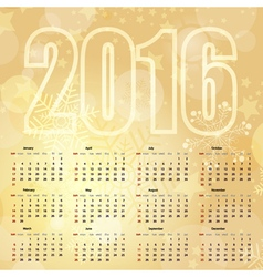 2016 new year gentle gold calendar vector