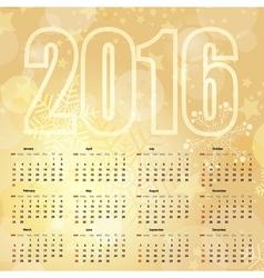 2016 New Year gentle Gold Calendar vector image