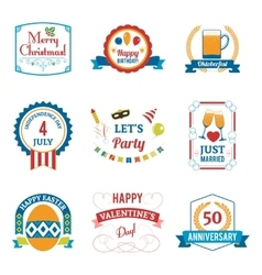 Holiday celebration emblems set vector
