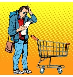 The buyer with a grocery cart vector