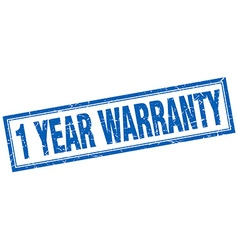 1 year warranty blue square grunge stamp on white vector