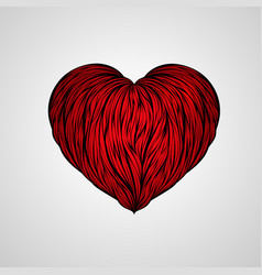 Abstract love heart red lined art hand-drawn wave vector