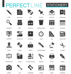 black classic office stationery icons set for web vector image vector image
