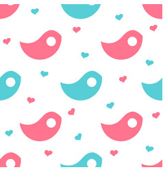 Blue and pink bird-shaped objects with hearts in vector