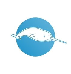 Blue flat logo narwhal for company and business vector