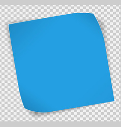 Blue paper sticker over transparent background vector image vector image