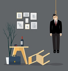 Businessman hang himself in his room vector image