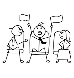 cartoon of man with sport flags in theater or vector image