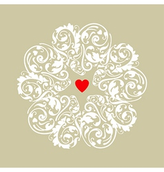 Circle heart ornament vector image