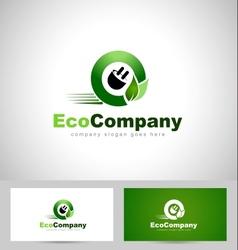Eco electricity logo vector