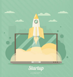 flat concept background with rocket project start vector image