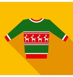 Green christmas sweater in flat style with long vector