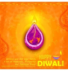 Happy diwali background coloful watercolor diya vector
