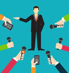 Interview a businessman or politician answering vector