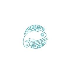 Logo chameleon linear style vector