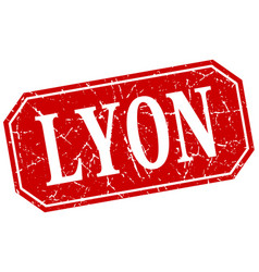 Lyon red square grunge retro style sign vector