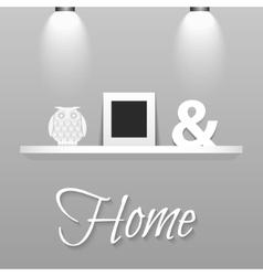 Modern shelves in scandinavian interior style vector image