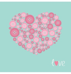 Pink heart made from buttons love card flat design vector