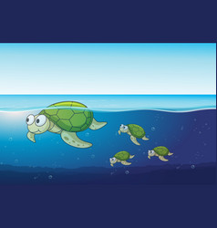 sea turtles swimming in the ocean vector image vector image