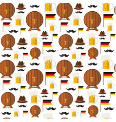 seamless pattern beer barrels and mugs ornament vector image