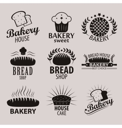 Set of bakery and bread shop logos labels badges vector image vector image