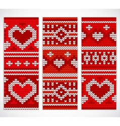 Set of seamless knitted banners with hearts vector