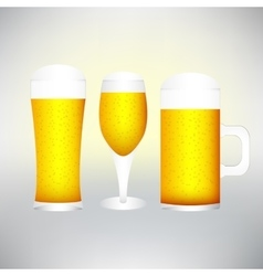 set with different glasses of beer on white- vector image vector image