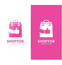 shop and like logo combination sale and vector image