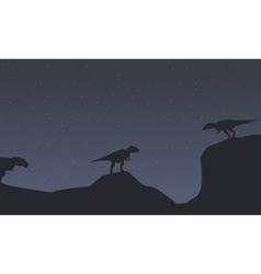Silhouette of mapusaurus with tyrannosaurus vector image vector image