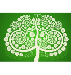 Silver bodhi tree on a green background vector