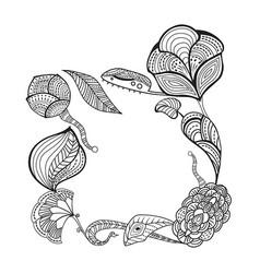 sketched vintage floral border sketched vector image