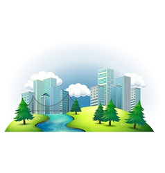 Tall buildings in an island with a river and pine vector image vector image