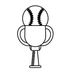 Trophy ball baseball winner outline vector