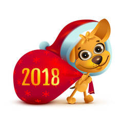 yellow dog symbol of year 2018 funny santa dog vector image vector image