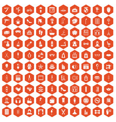 100 beauty and makeup icons hexagon orange vector