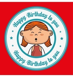Girl happy birthday vector